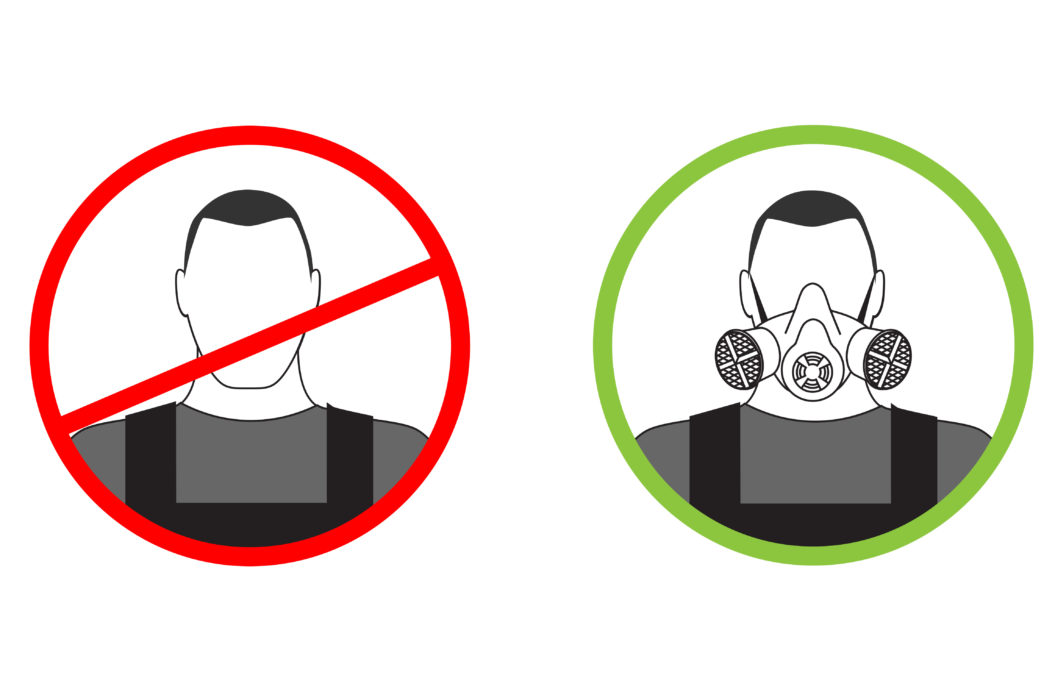 Warning sign cannot get to work without a respirator